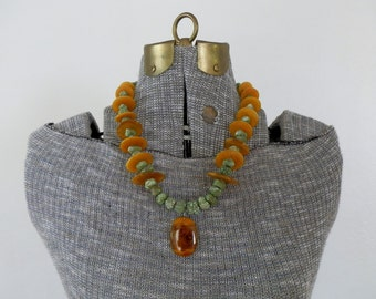 Vintage Necklace Beaded Tribal Amber Resin Silver and Green Turquoise Nugget Necklace Gift Quality Ready to Wear DanPickedMinerals