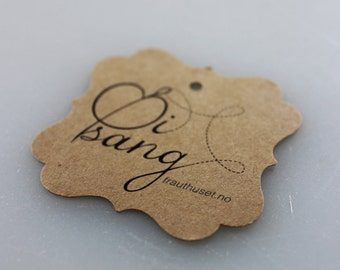 Merchandise Swing Tags Customized with Your Logo Handmade Items - Set of 100 - Square Kraft Brown