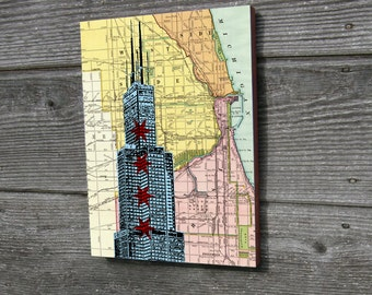 Chicago Wood block art print Willis Tower Sears Tower Street Map Background 9x12""