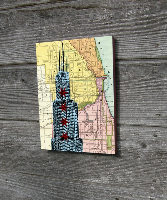 Chicago Wood Block Art Print Willis Tower Sears Tower Street