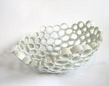 White ceramic fruit bowl, contemporary design, Particle series. Handmade, one-of-a-kind home decor.