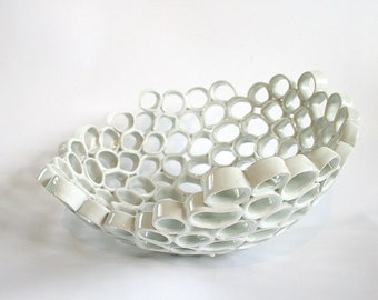 White ceramic fruit bowl, contemporary design, Particle series. Handmade, one-of-a-kind home decor.