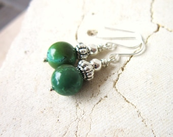 Green Turquoise Earrings. Genuine Turquoise Dangle Earrings. Turquoise Drop Earrings. Silver & Natural Turquoise Jewelry
