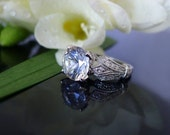 Herkimer Diamond Engagement Ring 14K White Gold With Diamond Accents Art Deco Antique Style
