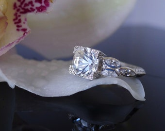 Herkimer Diamond Engagement Ring, Antique Style Ring, Conflict Free Ring,  White Topaz Sterling Silver Ring, Lily Ring