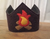Reserved Listing for iheartnoah Custom Recycled Wool Reversible Waldorf 4th Birthday Crown Campfire Applique