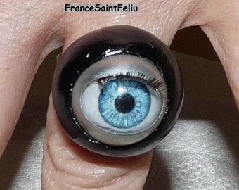 Ring eye human blue scary blinking Horror halloween costume jewelry women gothic fantastic which opens and closes her eyes