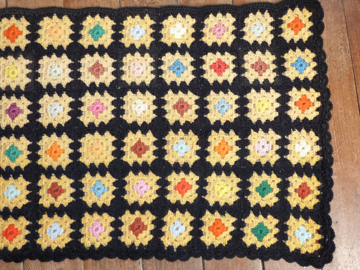 Crochet Granny Square Rug Patterns : Vintage crocheted granny square crochet rug carpet runner
