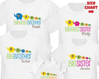 Elephant Biggest Sister Shirt, Elephant Big Brother, Elephant Big sister & Little baby Shirt - 5 Elephant Personalized Cousin Shirts