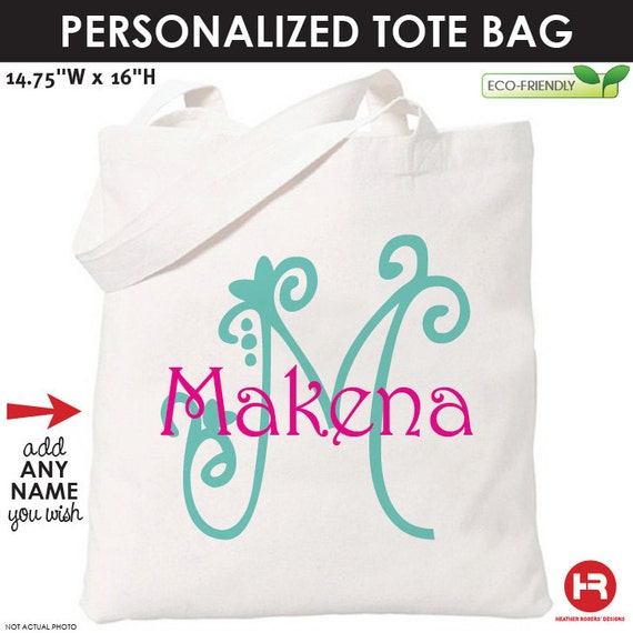 Monogram Tote Bag - Girls Personalized Bag - Printed Monogram Bag