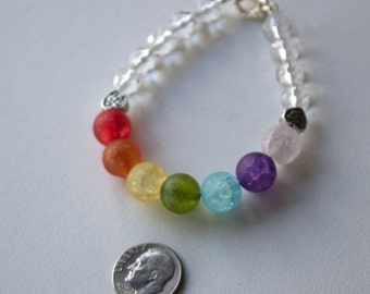 Rainbow bracelet, woman's bracelet, quartz and Czech glass bracelet, glbt gay pride equality