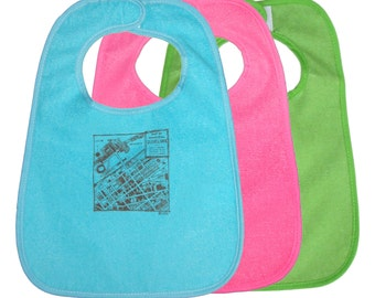 TerryCloth Bib with 'CLE 1942 Downtown Map' Design (Teal Blue, Pink, or Green)