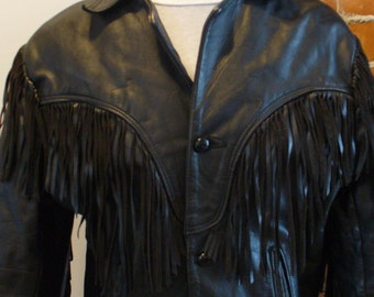 Vintage Fringed Black Leather Jacket