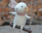 Swinging  Tiny  Mouse - Felting Dreams - READY TO SHIP - feltingdreams