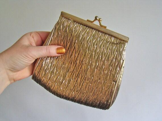 vintage textured Great Gatsby gold lamé evening bag