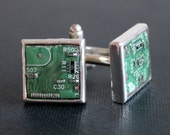 Silver Tone Square Circuit Board Cufflinks - Green