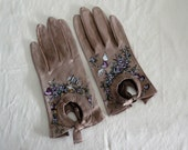 Reserve   Victorian leather gloves- arrows hearts and roses - Dramatic hand painted art for your hands