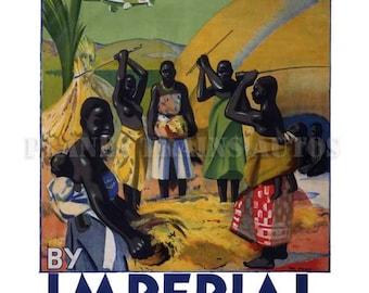 Vintage Airline Poster. Africa By Imperial Airways 1932. PRINT