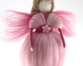 Pink Fairy Needle Felted Waldorf Fairy Ornament Fairytale Decoration Soft Sculpture Art Doll