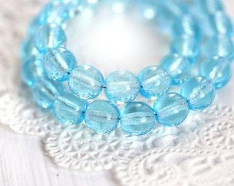 Blue Czech glass beads, Aqua Transparent rounds, 6mm druk, spacers - 30Pc - 0529