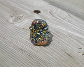 Wild Titanium Rainbow Druzy Ring Rainbow Quartz - Raw Crystal Stone Jewelry Semi Precious Stone Ring Cocktail Ring Nebula