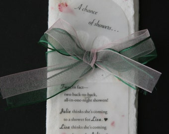 Bridal Shower or Baby Shower Invitation: Handmade flower paper and vellum