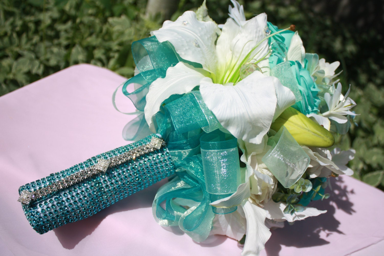 Wedding Silk Flower Bouquet Mint Turquoise Rose By