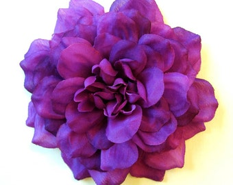 Dark Purple Dahlia - Fabric Flower Hair Clip or Flower Pin