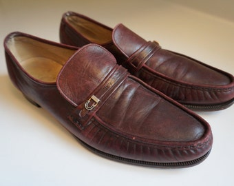 1960's Vintage Men's Burgundy Leather Loafers - Florsheim Imperial Shoes Size 11 1/2 Hipster Retro Funky