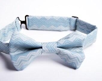 Blue Grey Chevron Bow Tie - Baby Toddler Child Boys -Wedding - photo prop