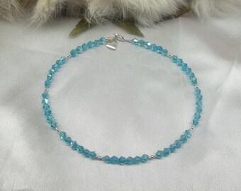Aquamarine Anklet Crystal Anklet Aquamarine Ankle Bracelet Crystal Ankle Bracelet Heart Anklet 100% 925 Sterling Silver BuyAny3+Get1Free