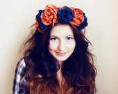 Rich - orange and teal floral crown/murMur
