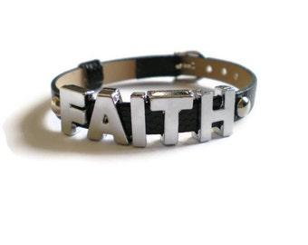 Leather FAITH Bracelet - Word Bracelet - Custom Bracelet - FAITH Jewelry - Charm Buckle Bracelet - Layering Bracelet - Belt Buckle Bracelet