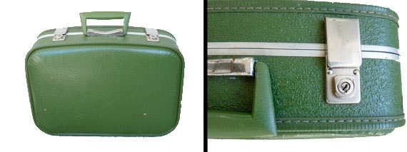 1960s small SUITCASE with chrome hardware / mod avocado green luggage