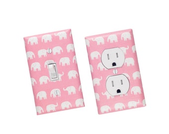 Pink Elephant Light Switch Plate & Outlet Cover SET OF 2 / Baby Girl Nursery Decor / Japanese Kawaii / Kids Room / Tiny Tip Top Fabric