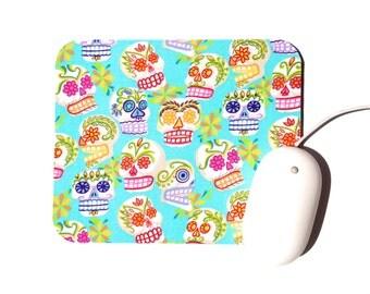 Sugar Skull Mouse Pad / Day of the Dead / Aqua Mini Calaveras / Office Home Decor