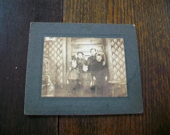 Vintage Cabinet Card Photograph 1800s Children In a Victorian Room 6 x 5