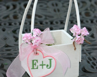 Absolutely Adorable Personalized Wood Flower Girl Basket with Rustic Charm