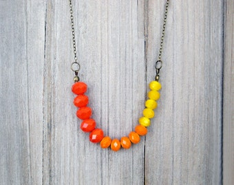 Ombre Orange Necklace, Glass Beaded Necklace, Colour Block Necklace, Orange And Yellow Necklace, Faceted Glass