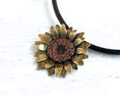 Sunflower Jewelry, Mixed Metal Necklace, Copper and Brass Pendant - MADE TO ORDER