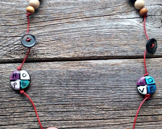 Into the Woods, Wood Beads on Leather Cord Necklace