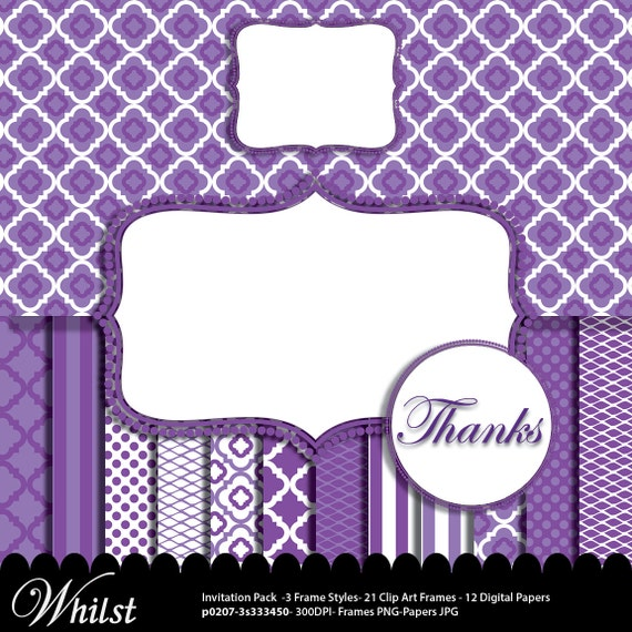 Purple and white digital paper frame clip art, royal purple stripe ...