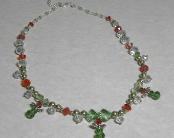 Necklace: Sparkling Green, Red, and Silver Angel Necklace