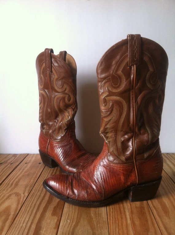Vintage Tony Lama Lizard Skin Genuine Leather Cowboy Boots