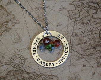 Large Hand stamped Open Circle Family Necklace