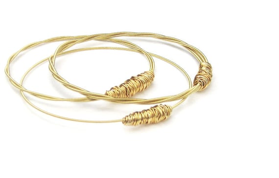 Gold Bangle Bracelets // Set of 3 Bracelets // 3 Styles // Gold Guitar Strings, Wire Wrap // Medium Thick  // Gift  // Eco-Friendly Jewelry