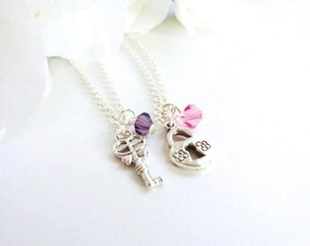TWO Key to My Heart Necklace Set Best Friend Necklaces, Sisters Lock and Key Charms, Mother Daughter with Birthstone - FREE Gift Packaging