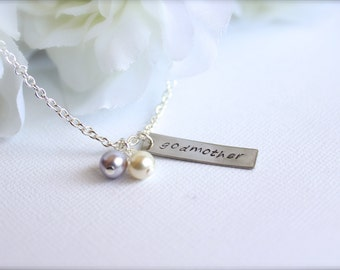 Godmother Gift Hand Stamped Personalized Necklace Godmother Keepsake -- FREE Gift Packaging, Will you be my Godmother-