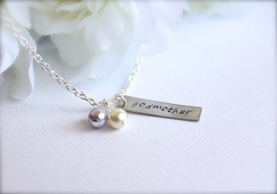 Godmother Gift Hand Stamped Personalized Necklace Godmother