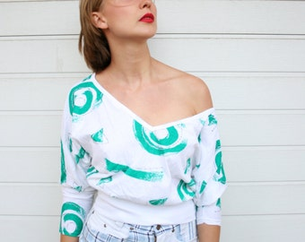 Vintage 80s Abstract Print Bat Wing Top